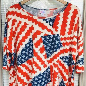 Lularoe LLR Classic T Tunic Top XL Red White Blue
